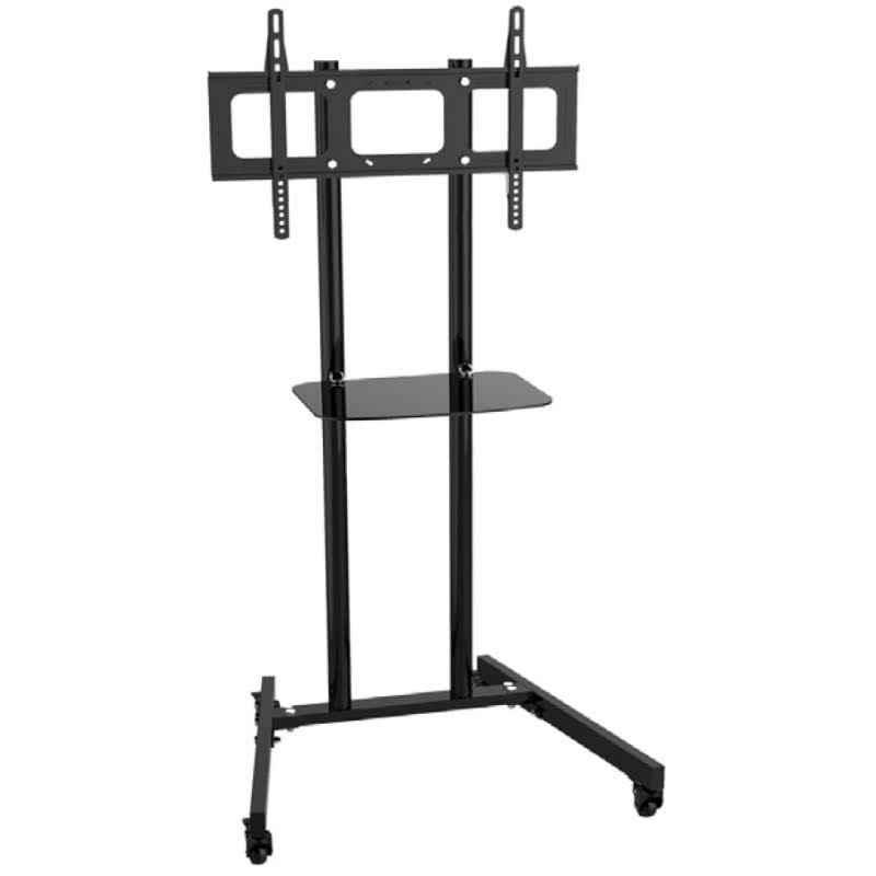 Support mobile hauteur fixe 155cm tablette verre aveco - Support tv avec tablette ...